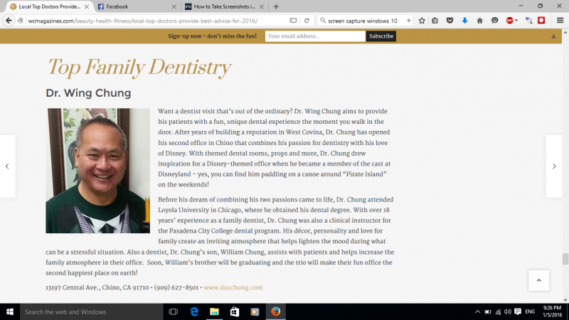 Local Top Dentists  2016 –  Doc Chung  Dental